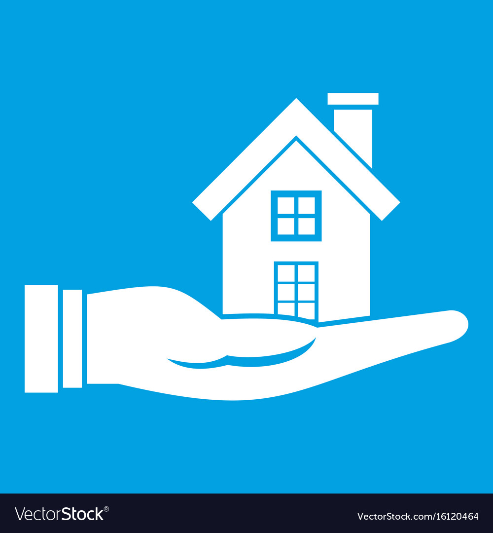 House in hand icon white