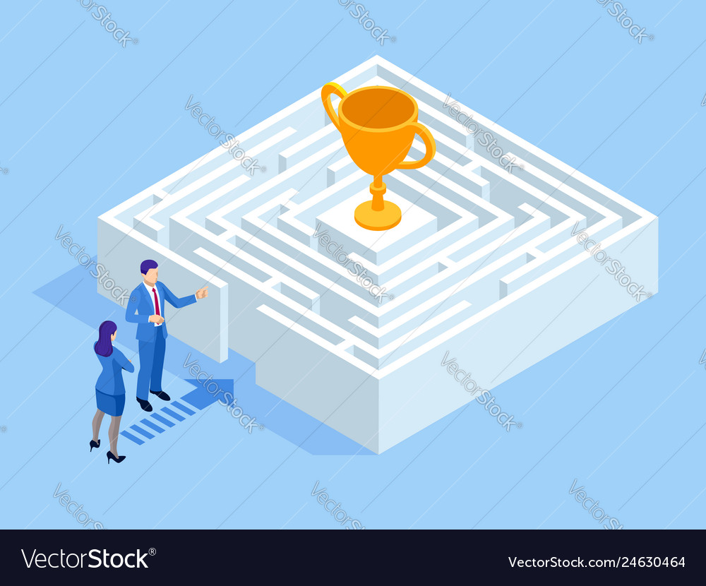 Isometric labyrinth business concept business