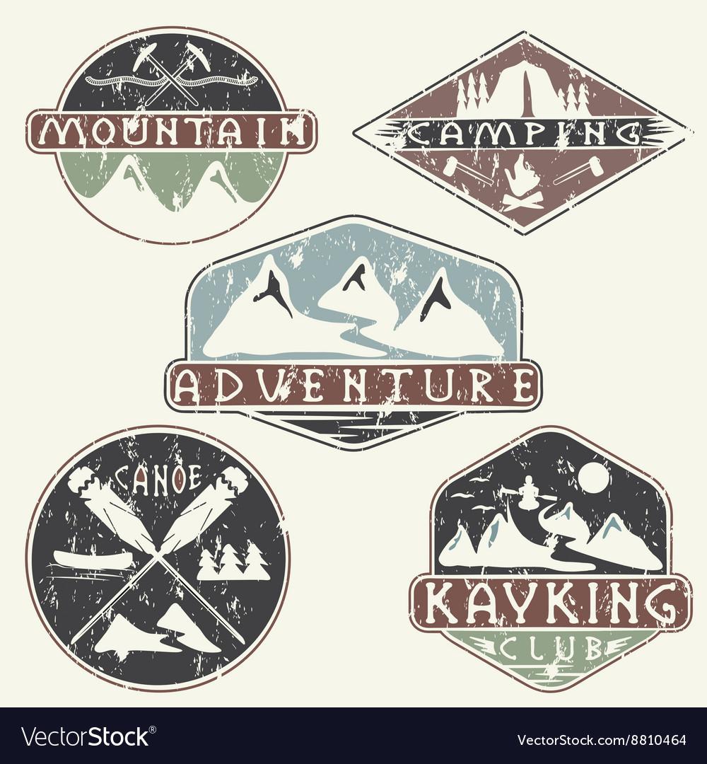 Kayaking campingclimbing and adventure vintage