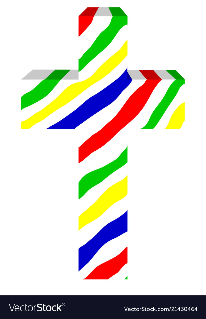 Multicolored three-dimensional cross on white