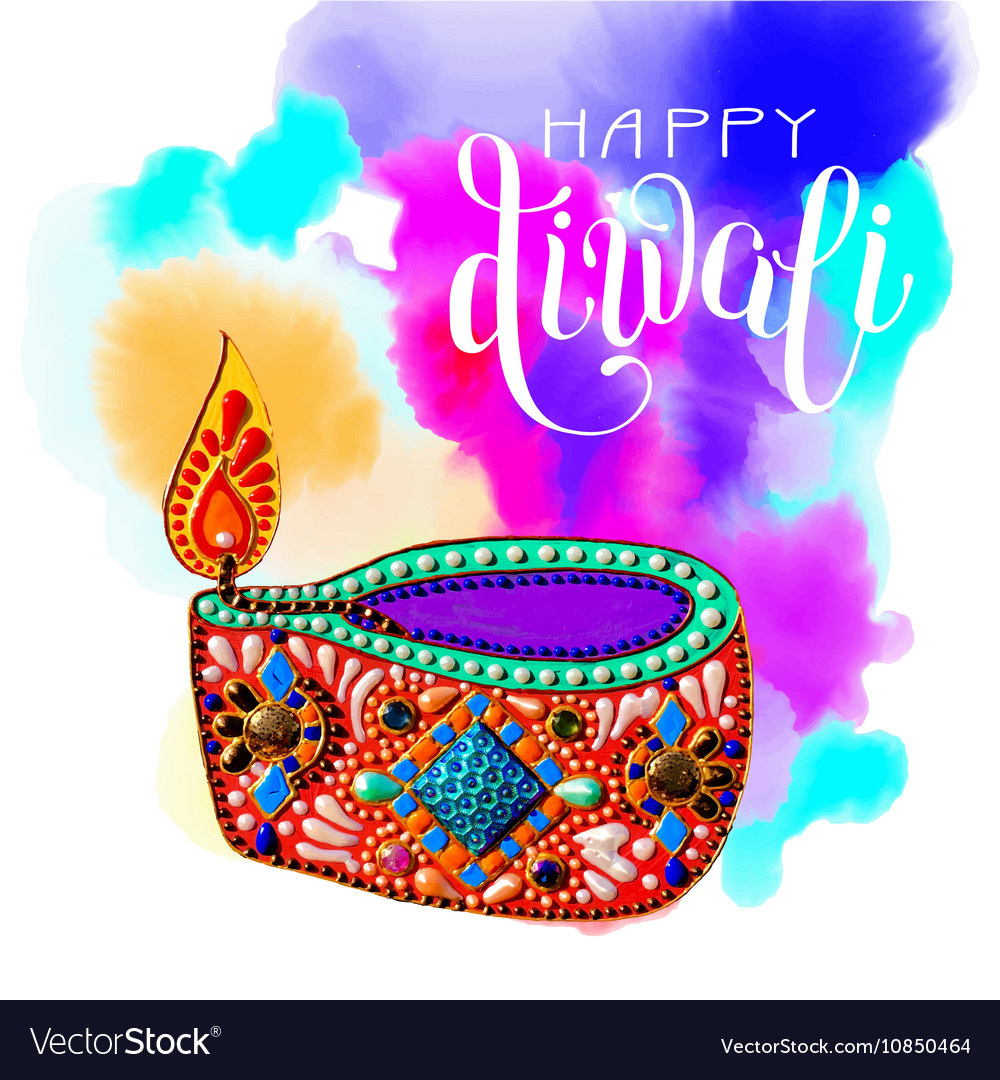 Original greeting card to deepavali festival with vector image m4hsunfo