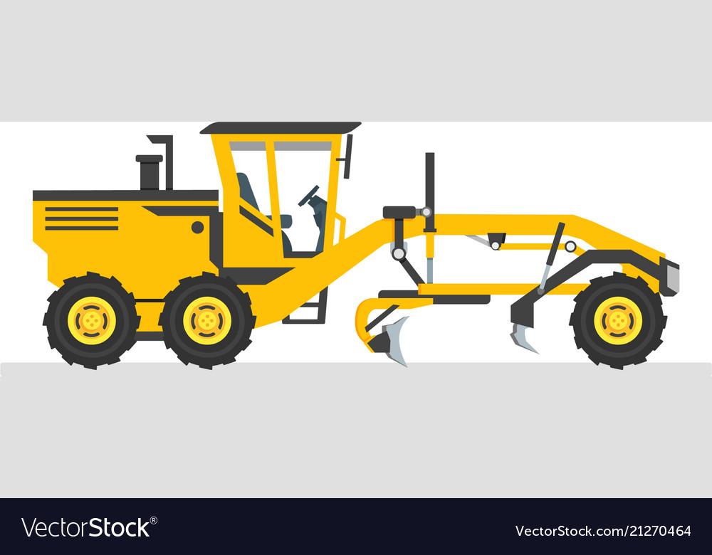 Road grader flat design heavy equipment