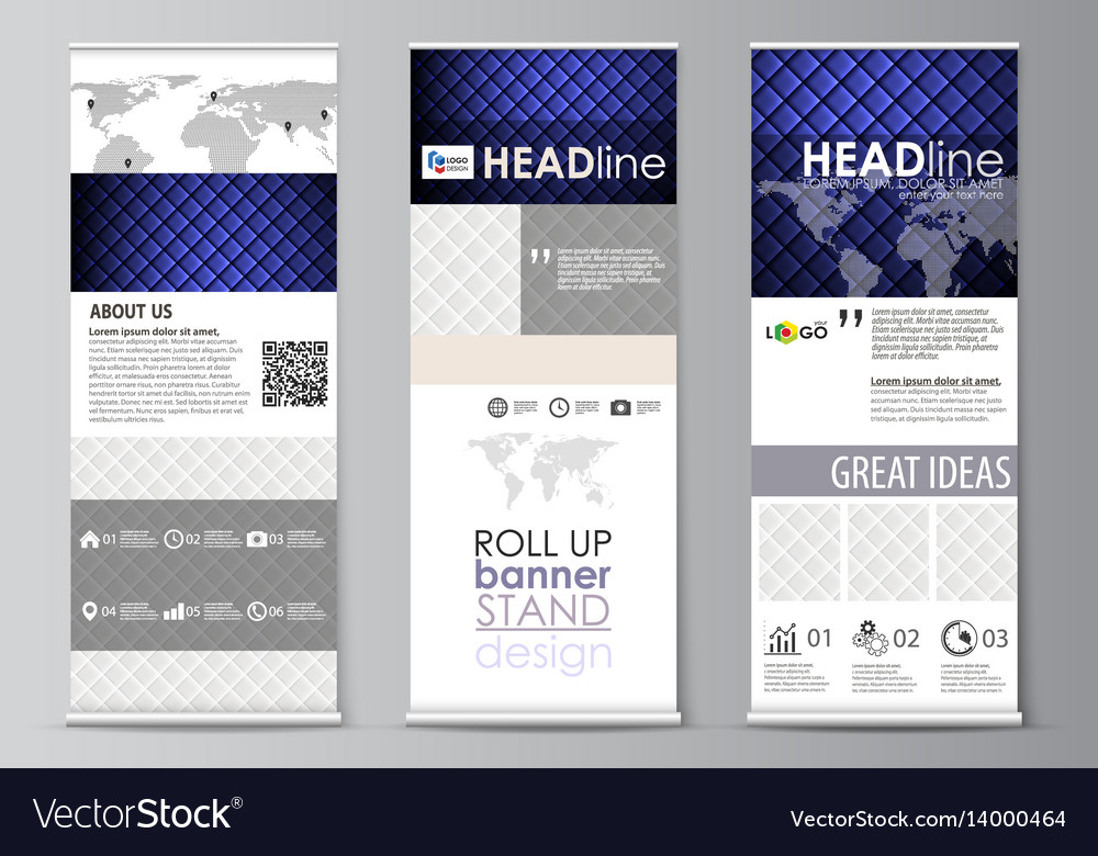 Roll up banner stands flat design templates