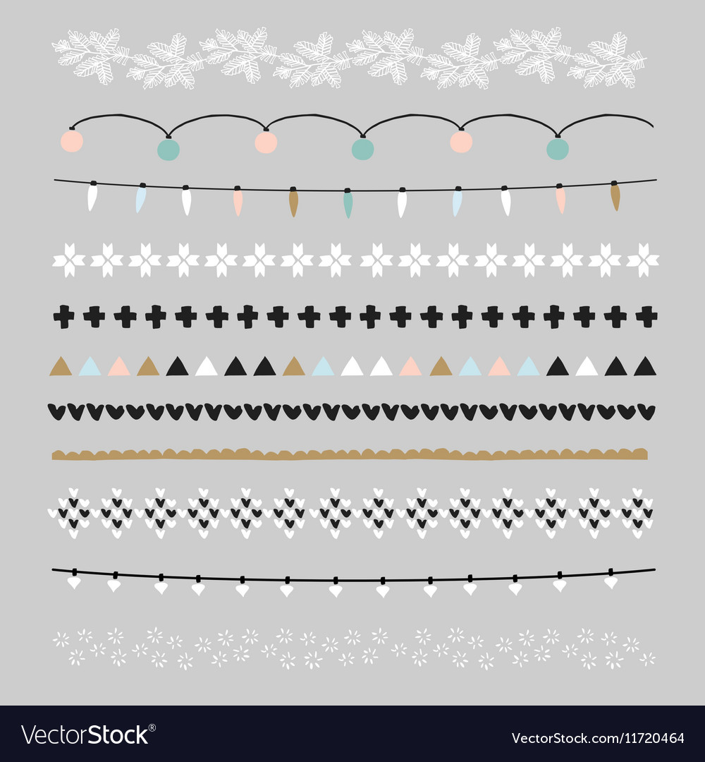 Set of Christmas borders and brushes Party