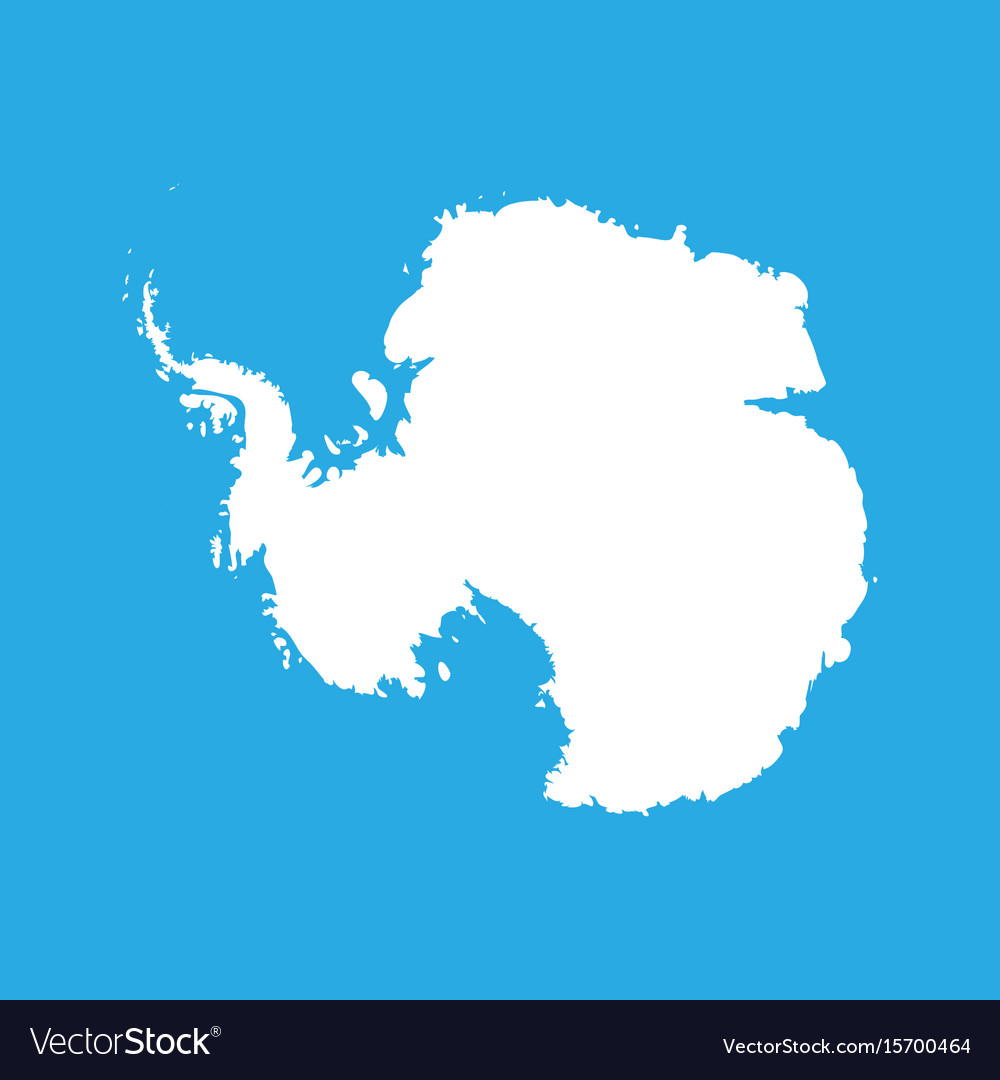 Silhouette map af antarctica high detailed white