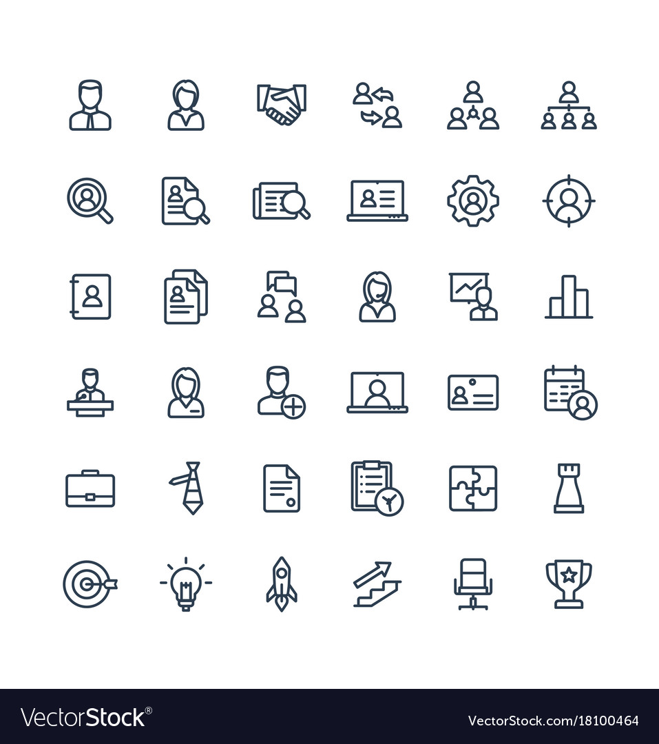 Thin line icons set business and management
