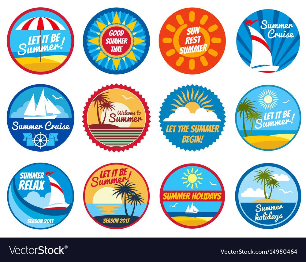 Vintage summer labels tropical holiday
