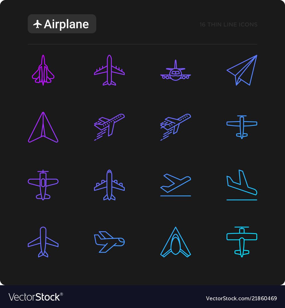 Airplane thin line icons set