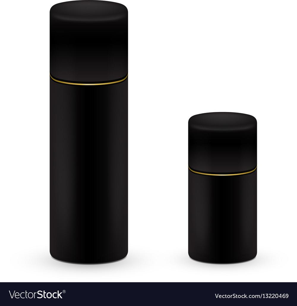 Black big and small bottles of aerosol spray vector image