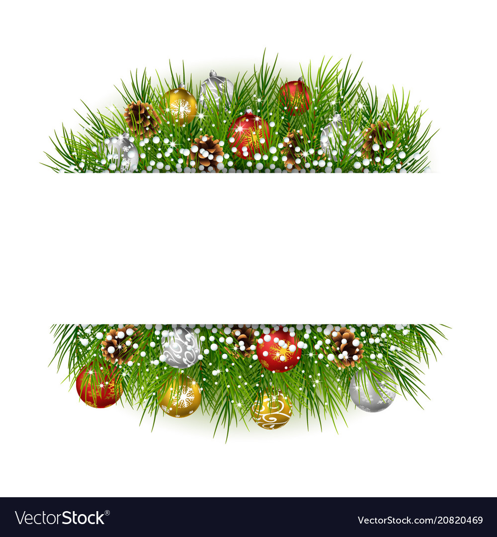 Christmas with snowball cypress background frame Vector Image