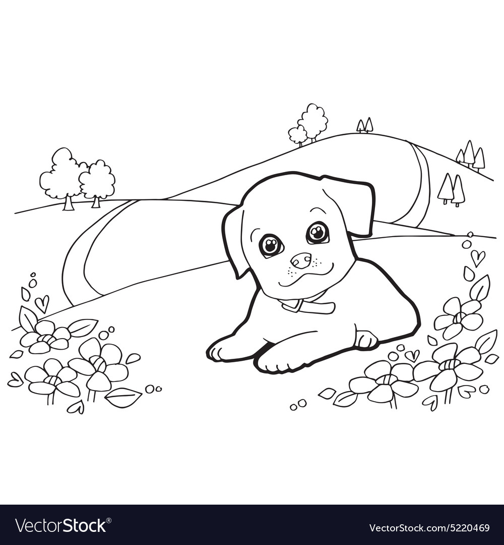 Coloring book with dogs and house Royalty Free Vector Image