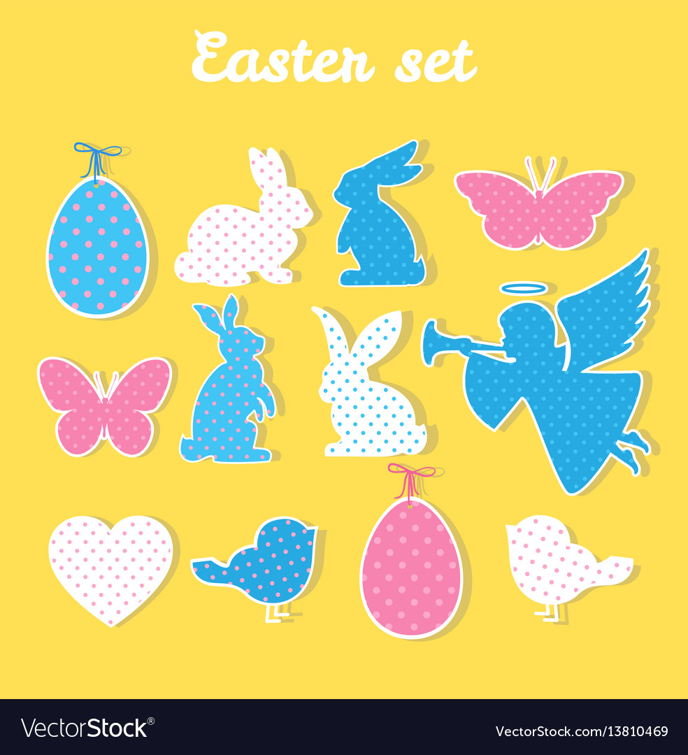 Easter set with angel egg butterfly heart
