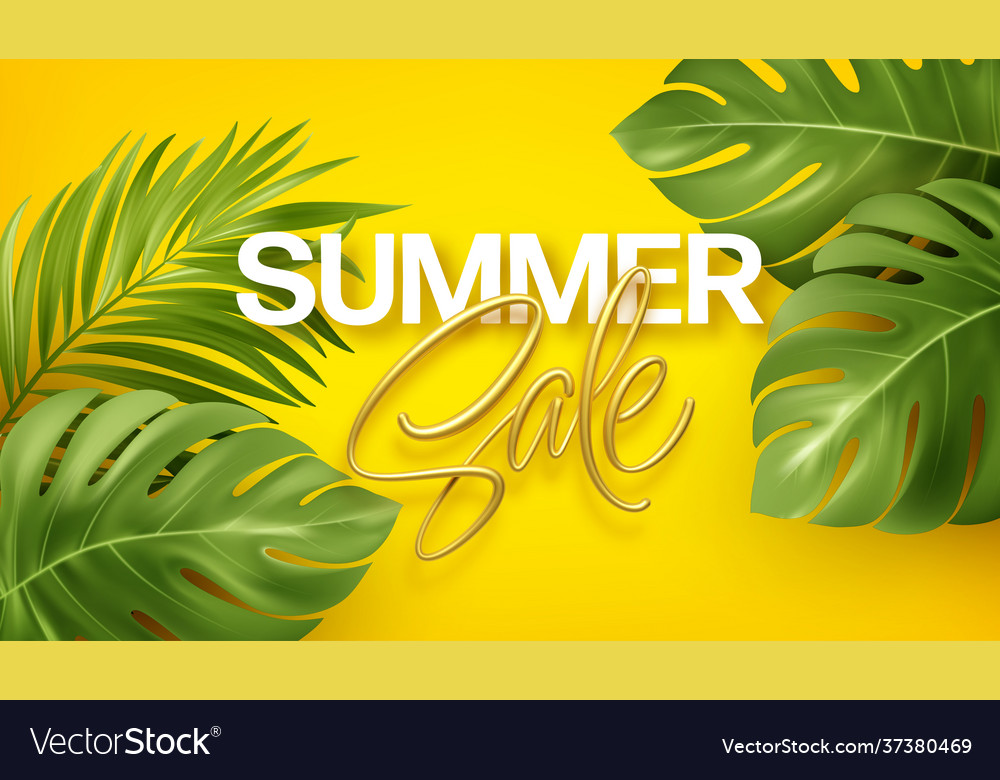 Golden lettering summer sale on bright yellow