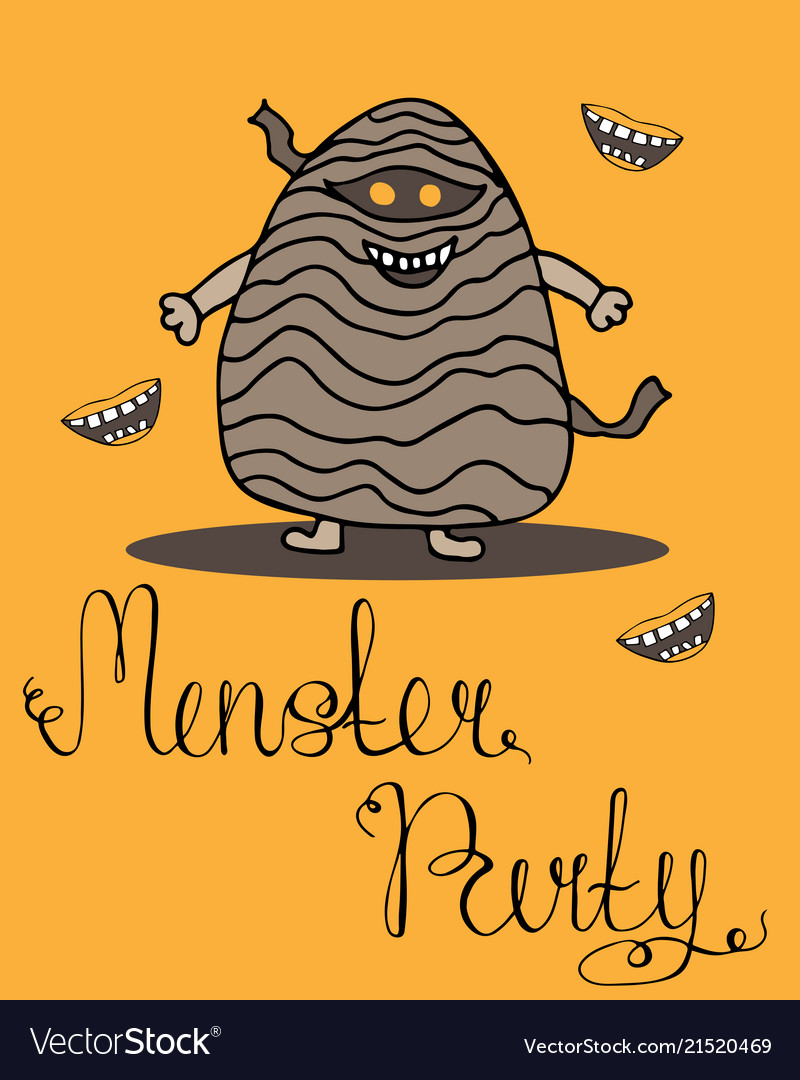 Halloween greeting card for monster party vector image m4hsunfo