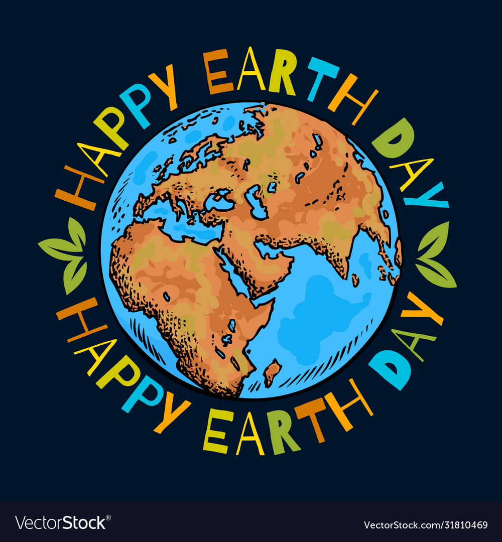 Happy earth day poster hand drawn