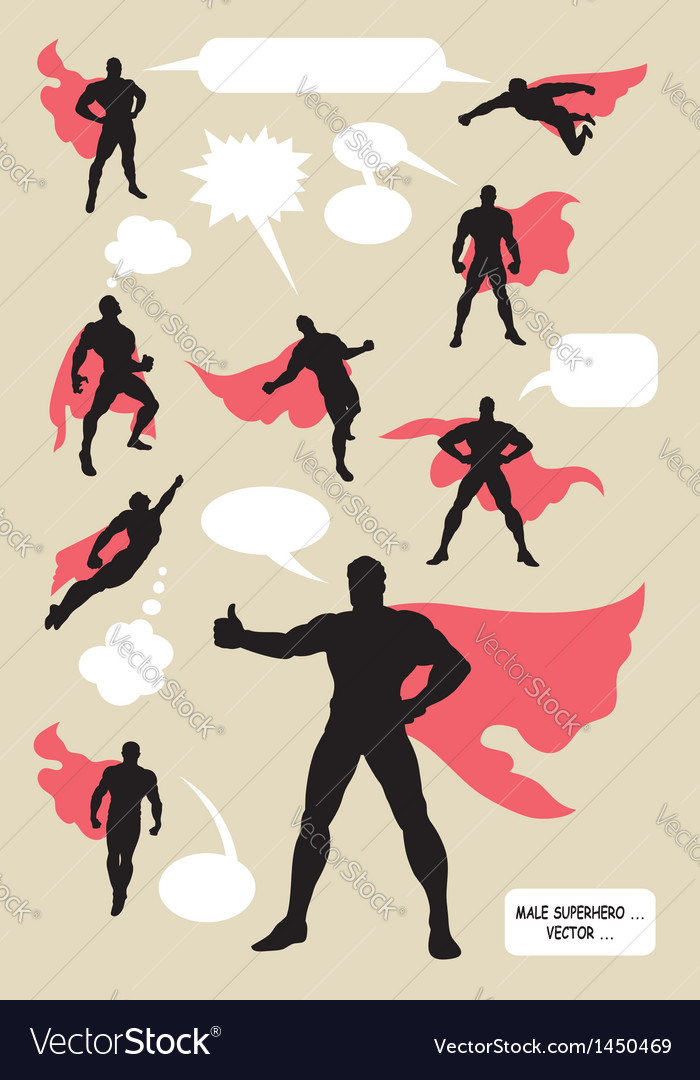 Male superhero silhouettes vector image