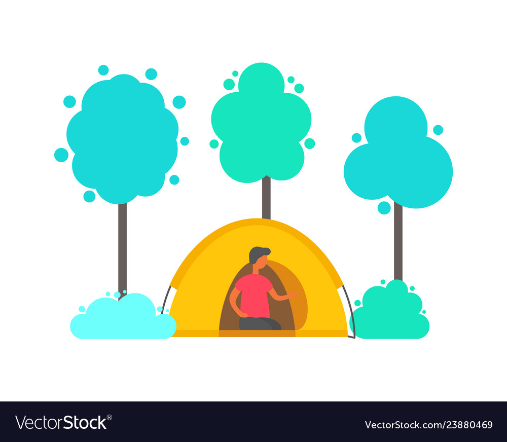 Man in tent in forest trees and bushes isolated