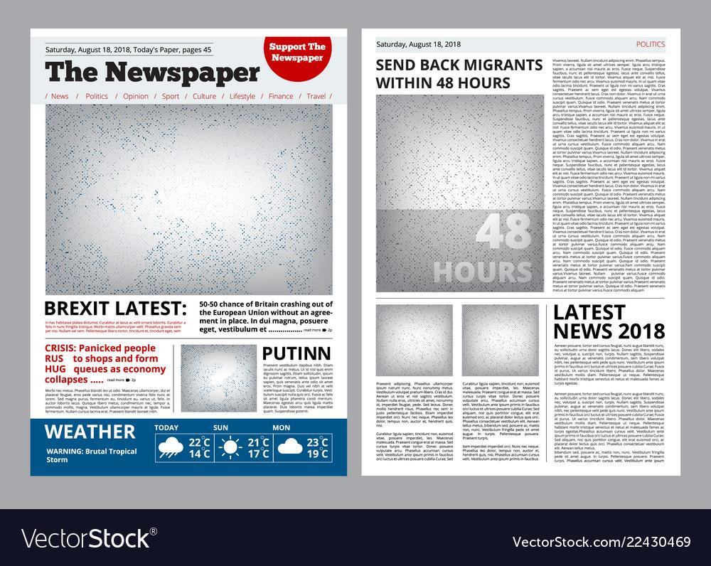 Newspaper Design Headline Journal Template With Vector Image