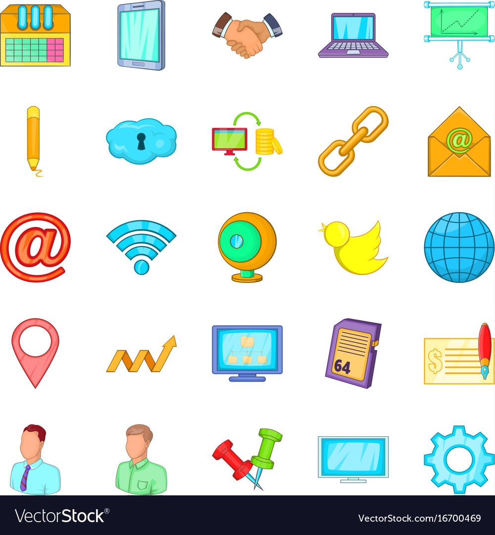 Nummary icons set cartoon style vector image