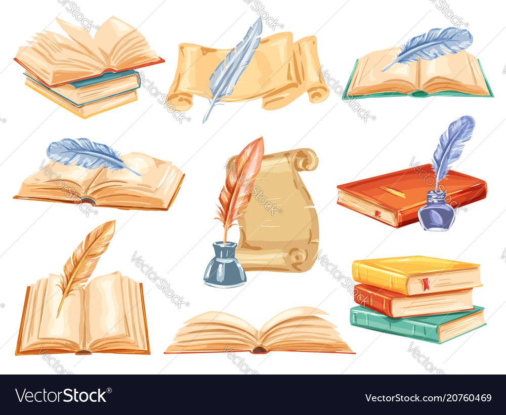 Old book paper scroll and feather pen watercolor Vector Image