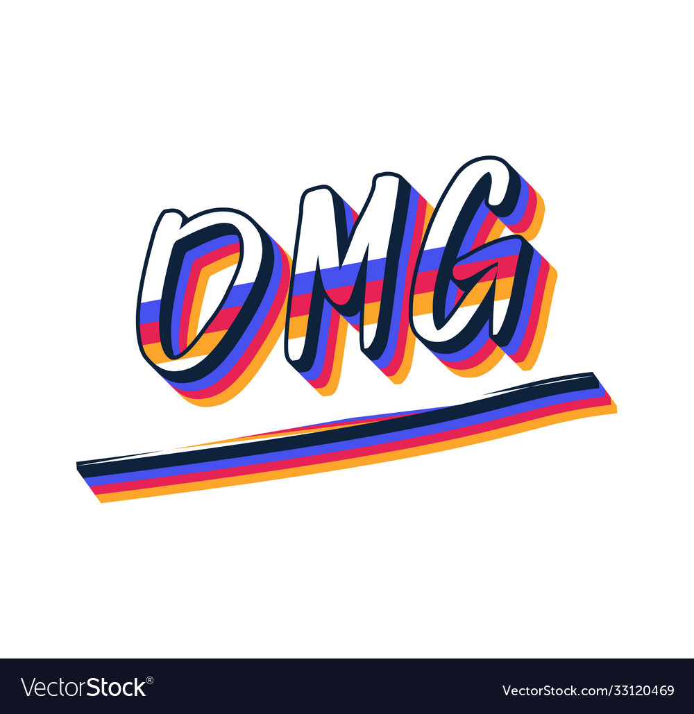 Omg hand drawn text trendy hand lettering