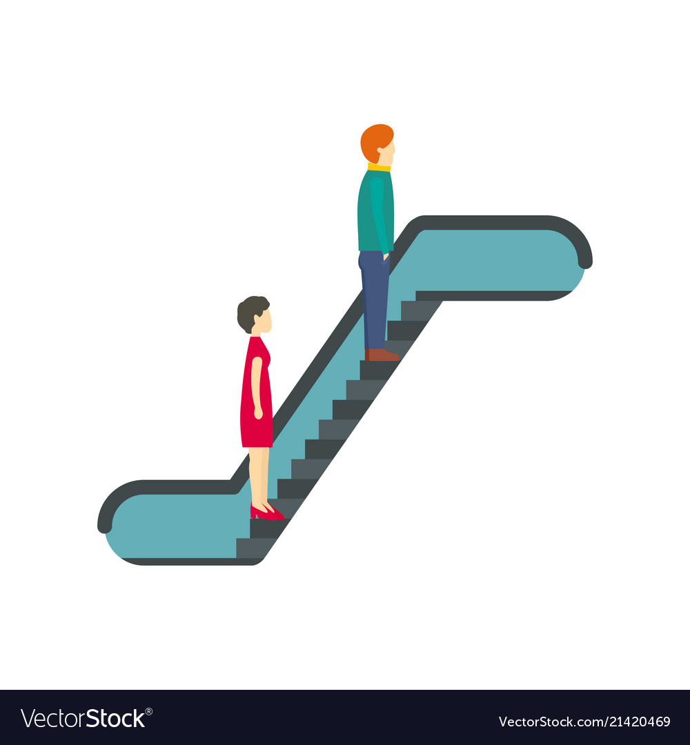 People at escalator icon flat style