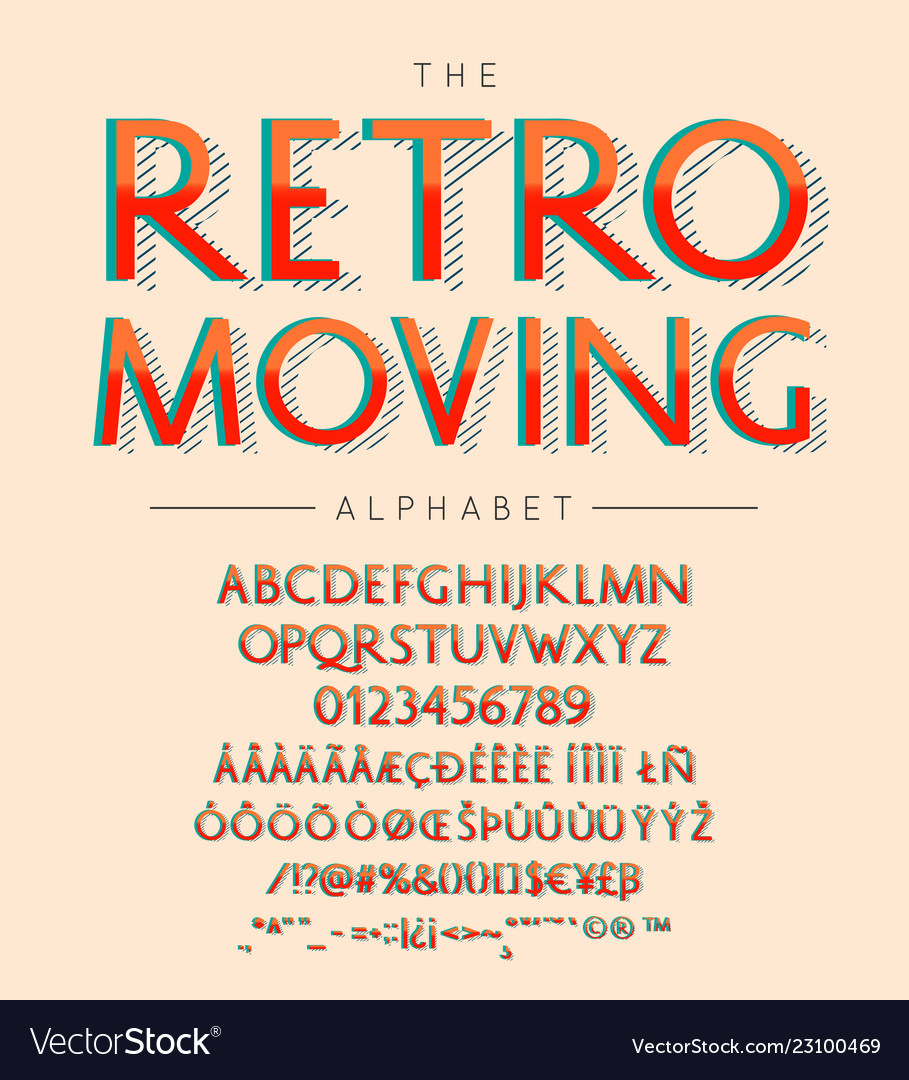 Retro moving font and alphabet with numbers