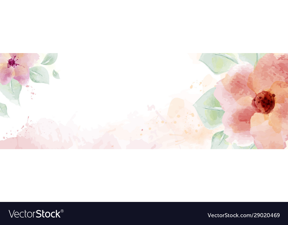 Watercolor with flower and leaves