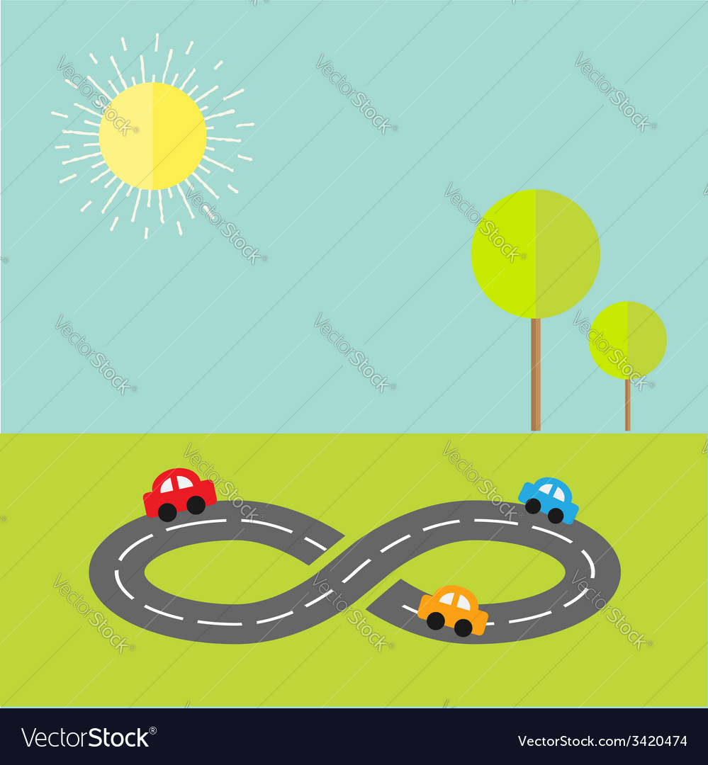 Background with road infinity sign cartoon cars
