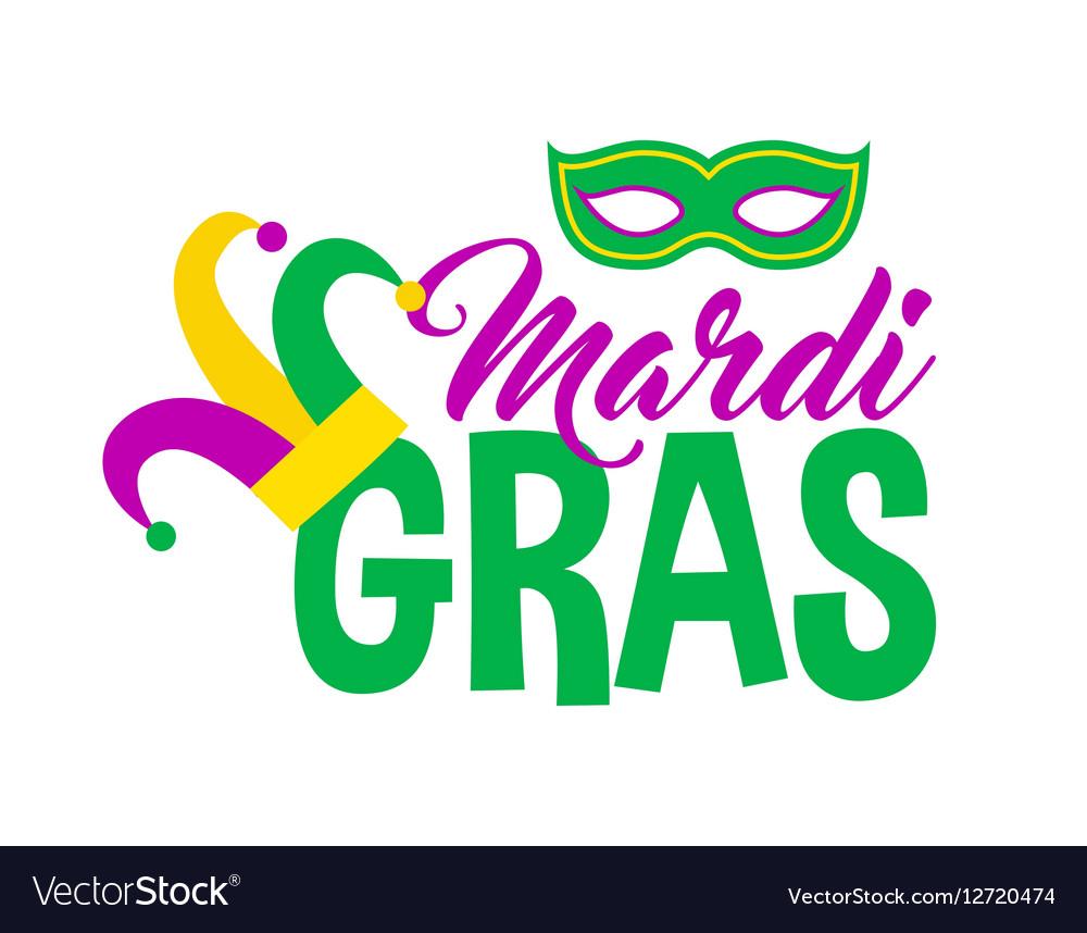 Bright mardi gras lettering