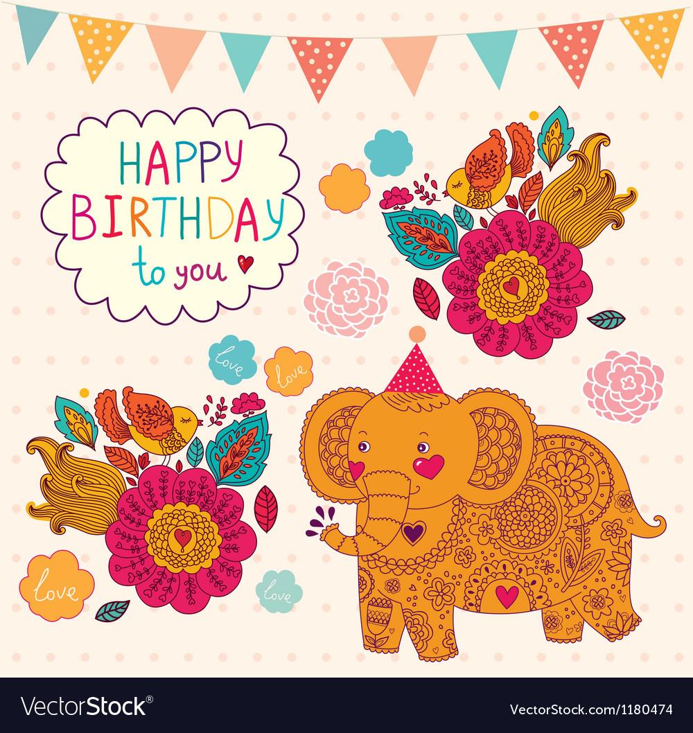 Elephant Birthday Greeting Design Royalty Free Vector Image