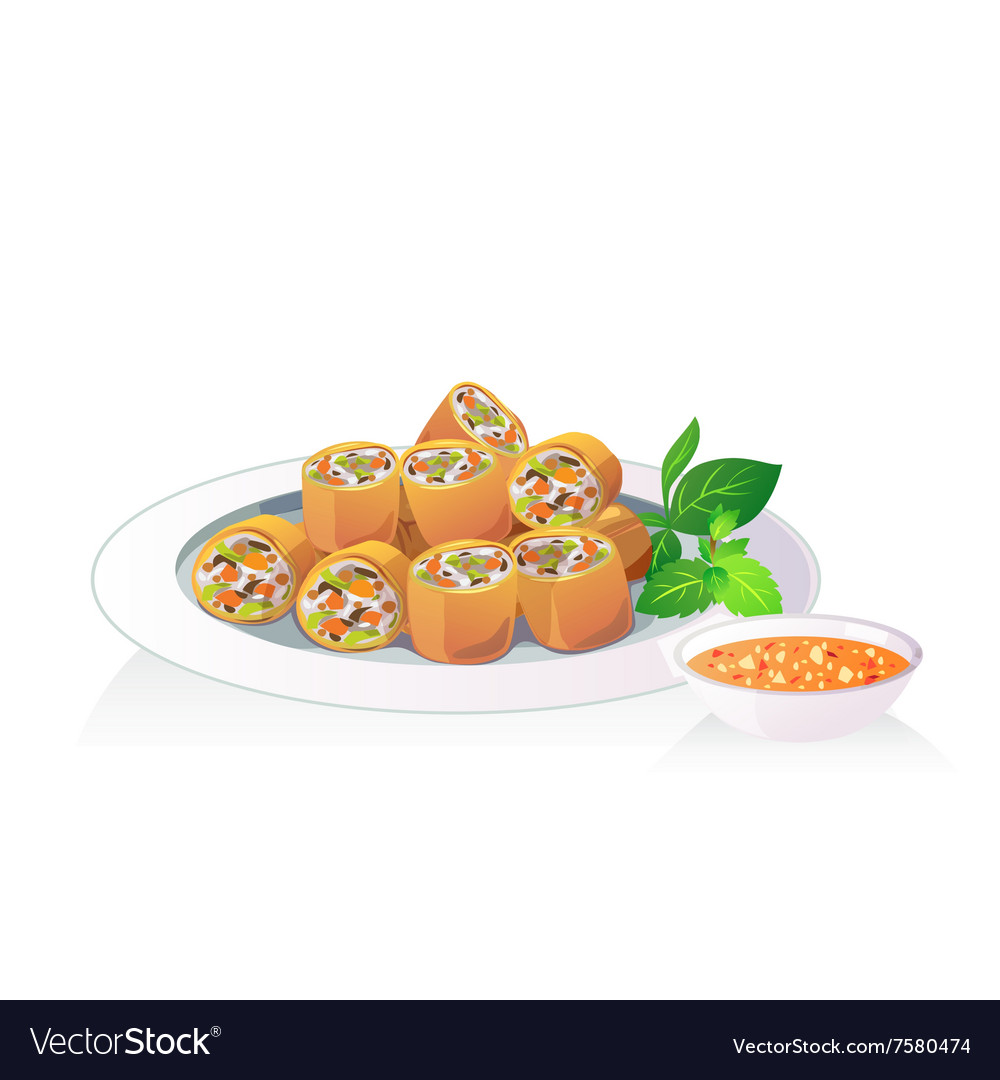 c179d2b9abe6 Fried spring roll Royalty Free Vector Image - VectorStock