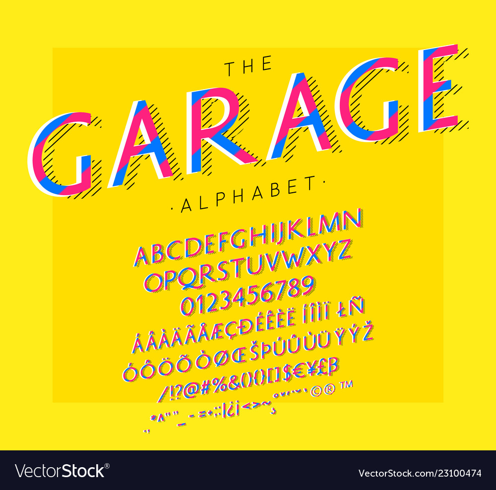 Garage font and alphabet with numbers