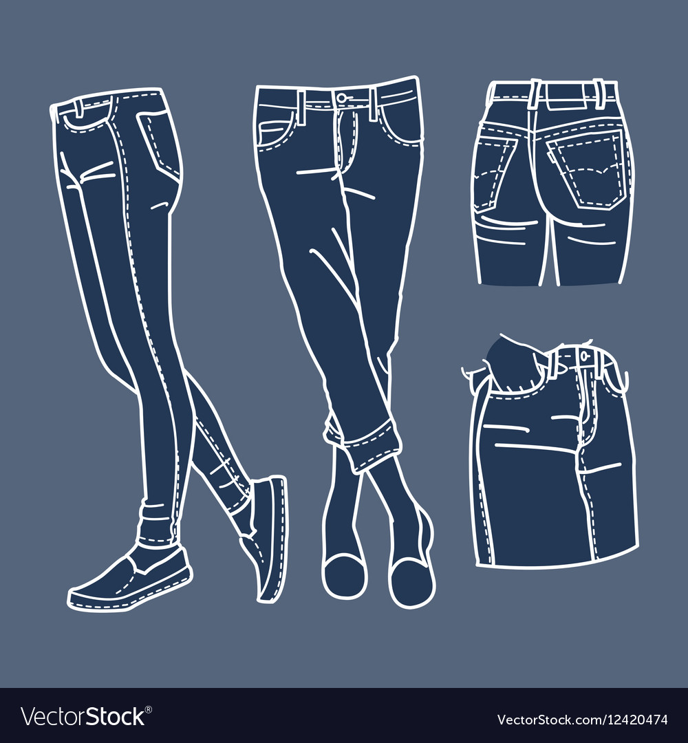 Hand drawn fashion Collection of girls jeans