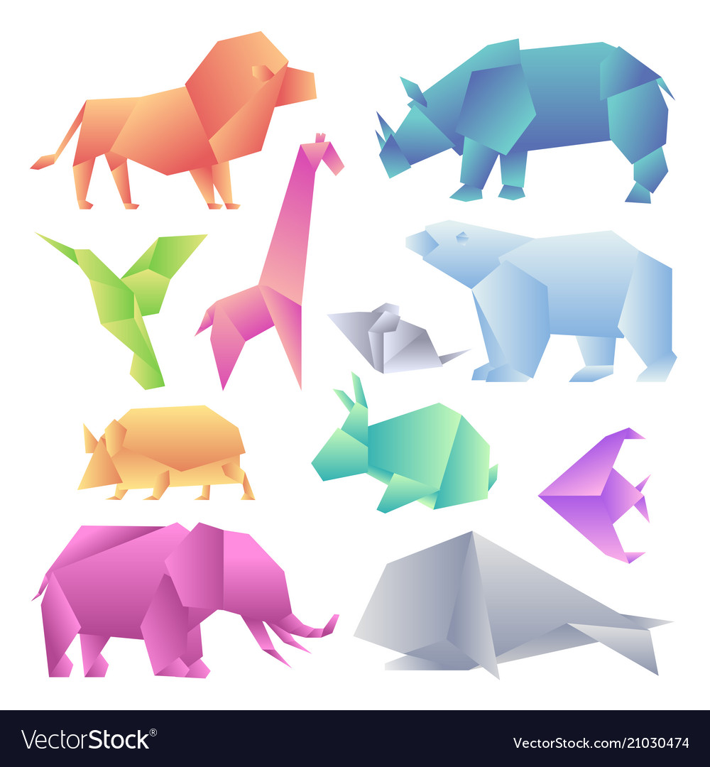 Low poly modern gradient animals set origami