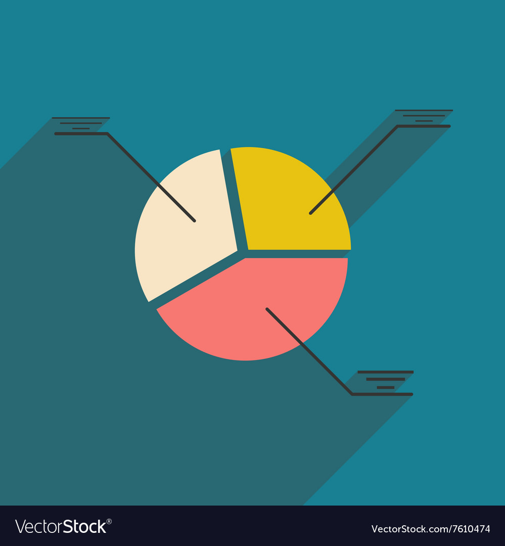 modern flat icon with shadow pie chart royalty free vector