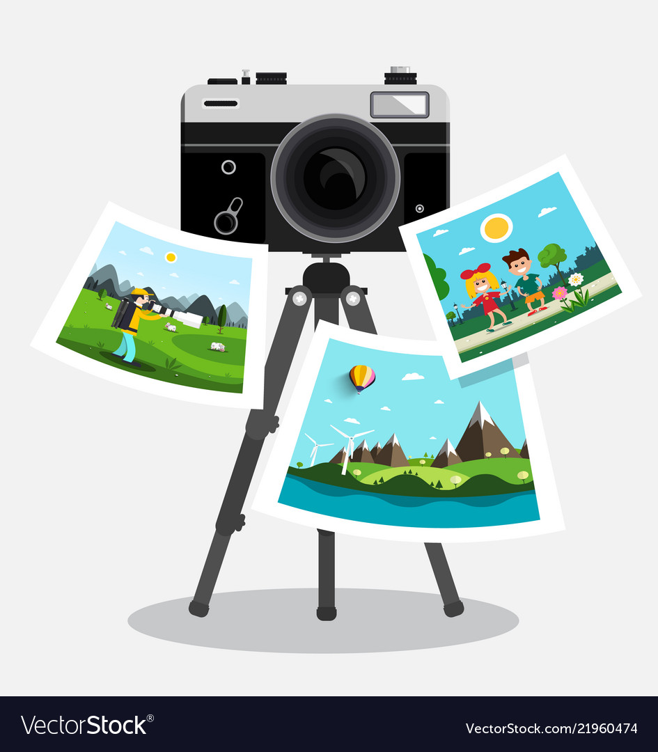 Retro film photo camera on tripod with pictures