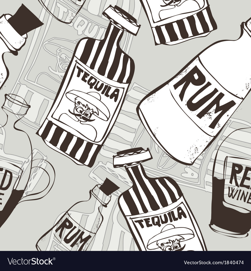 Seamless background with bottles