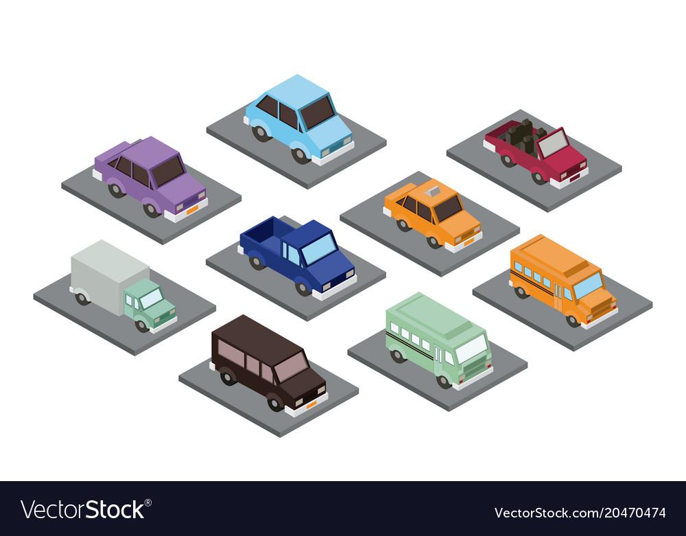 Set cars isometrics proy icon