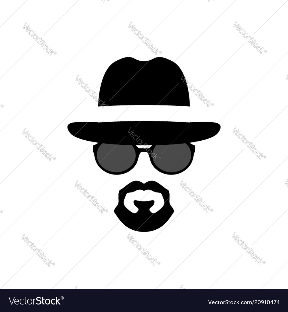 Silhouette portrait of a spy-man men icon