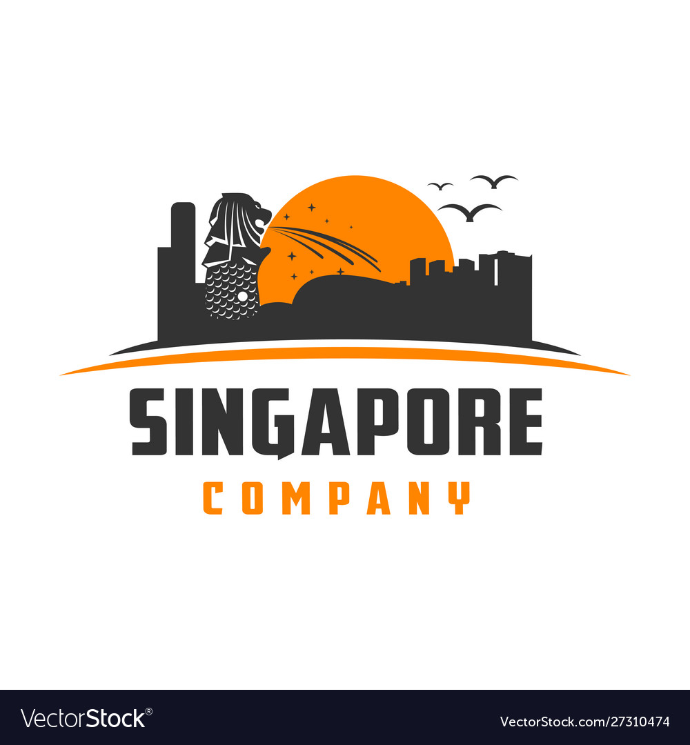 Singapore landmark logo design vector