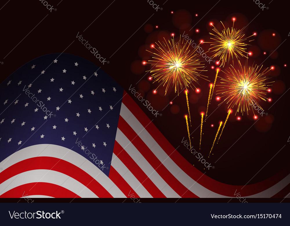 United states flag and celebration sparkling