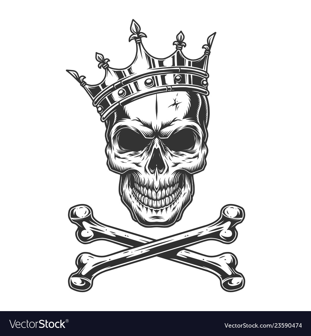 Vintage monochrome skull in royal crown vector