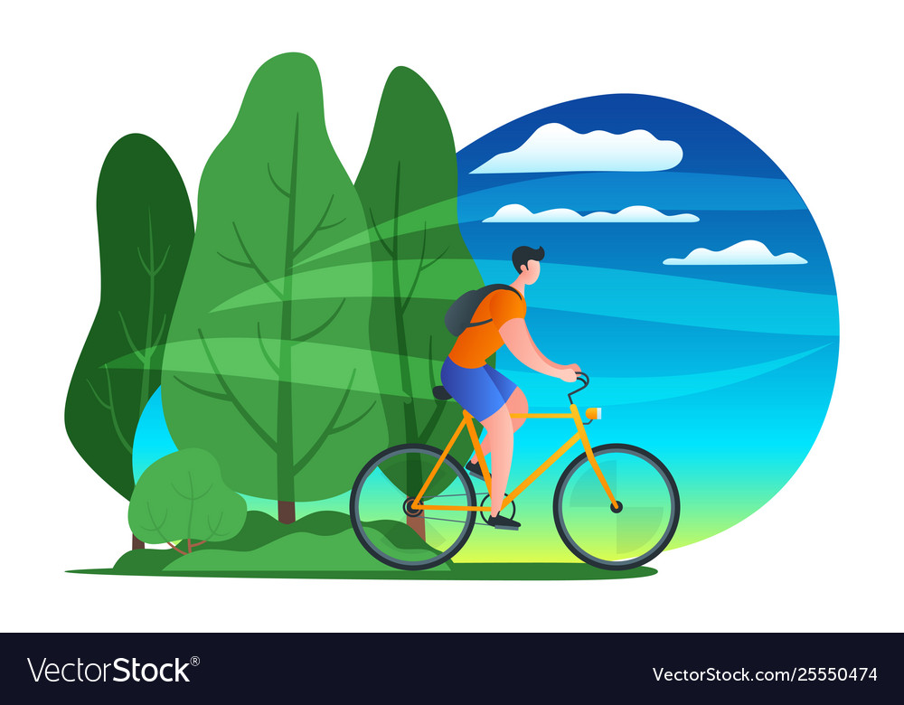 Young man riding bicycle 02