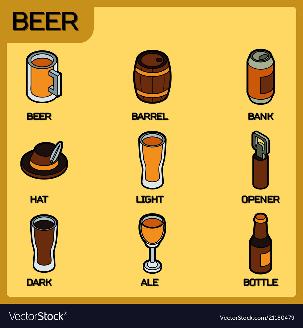 Beer color outline isometric icons
