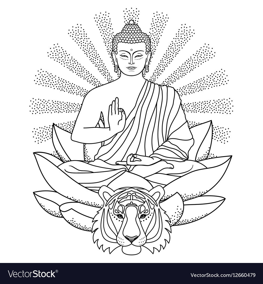 Buddha Sitting On Lotus With Light And Tiger Vector Image