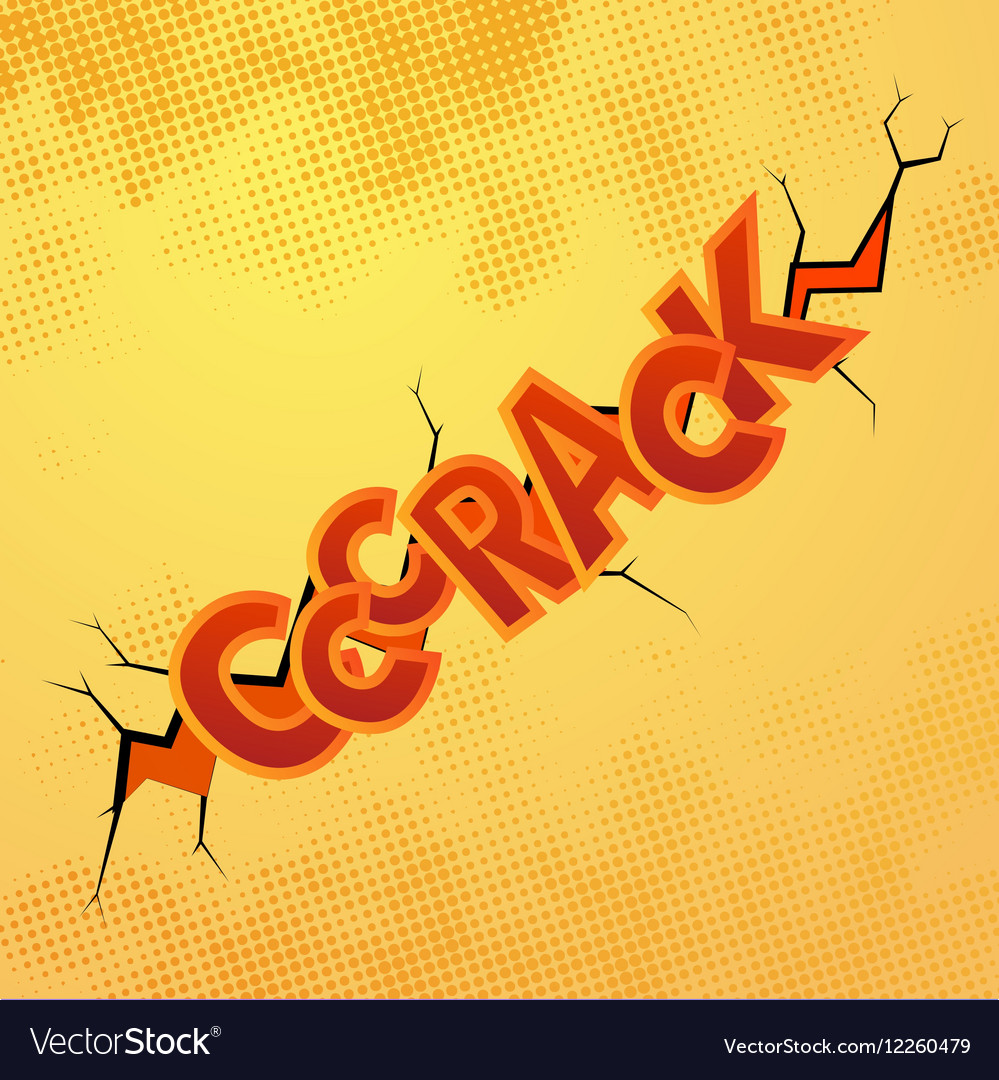Crack comics sound effect with halftone pattern on vector image
