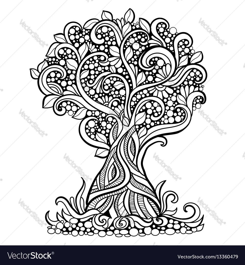 Doodle art tree Royalty Free Vector Image - VectorStock