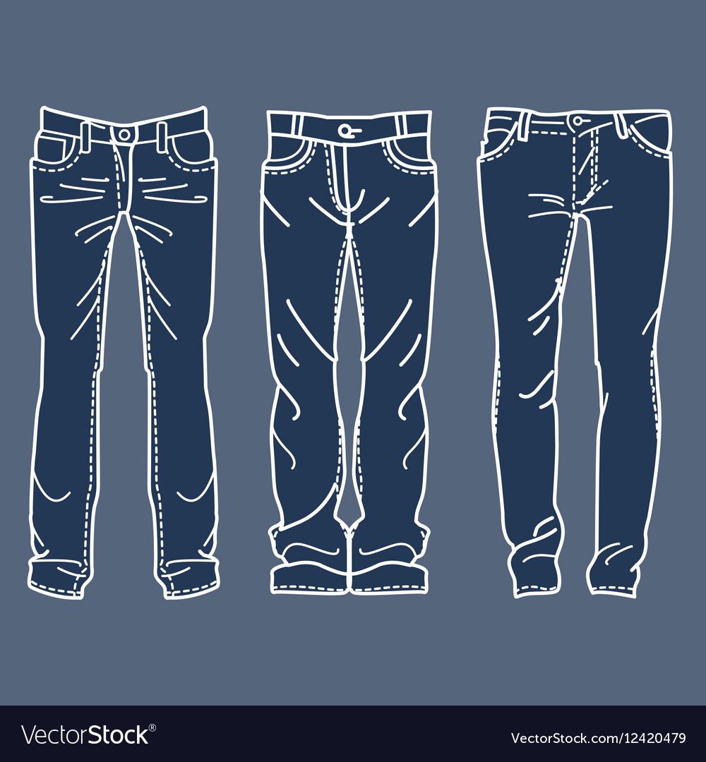 Drawing blue jeans mens jeans Drawing blue jeans vector image