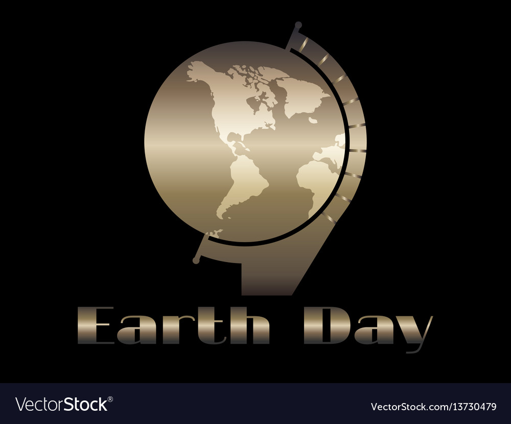 Earth day planet earth in the style of art deco vector image